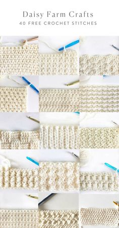 40 free crochet stitches from daisy farm crafts crafts crochet daisy farm free stitches Learn how to crochet the knit stitch successfully in this step-by-step video tutorial. The knit stitch (AKA the waistcoat or center single crochet stitch) can be Crochet Stitches Patterns, Knitting Stitches, Stitch Patterns, Knitting Patterns, Different Crochet Stitches, Crochet Stitches For Blankets, Crochet Daisy, Easy Crochet, Free Crochet