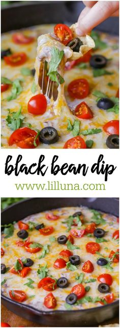 Cheesy and delicious Black Bean Dip that has sour cream, cream cheese, chilis and cheese mixed in topped with tomatoes, cilantro and olives!