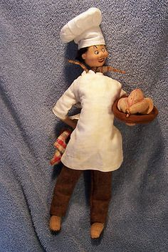 """Vintage 12"""" Klumpe Cloth Doll Chef with Roasted Turkey Made in Spain"""