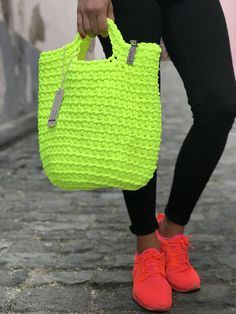 Crochet Handbags Scandinavian Style Crochet Bag Minimalistic Easy care Washable Color retention Super strong 38 cm width x 46 cm height polyester handmade - Modern Scandinavian style NEON YELLOW handmade crochet tote bag Crotchet Bags, Crochet Tote, Crochet Handbags, Crochet Purses, Knitted Bags, Smart Casual Outfit, Crochet Shell Stitch, Bead Crochet, Scandinavian Style