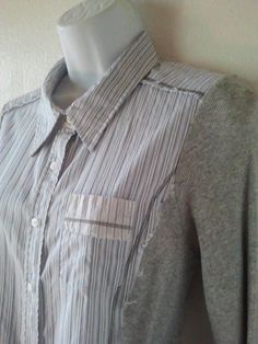 Anthropologie TINY Top SZ XL Stretch Knit and Light Cotton LS Casual Shirt  #AnthropologieTINY #ButtonDownShirt #Casual