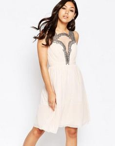 Little Mistress Skater Dress with Baroque Lace Plunge Detail