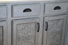 tin tile wallpaper transformed plain ugly bathroom cabinets into spectacular ones