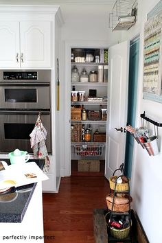 Great inspiration specifically for a small pantry - http://www.perfectlyimperfectblog.com/2011/08/a-pantry-makeover.html#