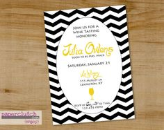 Chevron  Bridal Party Invitation Wine Tasting  by PaperclutchShop, $12.00
