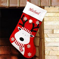 Make sure Santa's reindeer have a special spot in your Christmas decor when you hang these embroidered stockings on your mantle. Baby Christmas Stocking, Christmas Stocking Decorations, Baby Stocking, Handmade Christmas, Christmas Projects, Kids Christmas, Reindeer Christmas, Christmas Ornaments, Christmas 2016