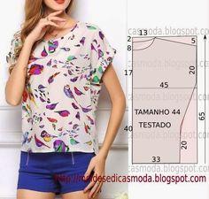 PASSO A PASSO MOLDE DE BLUSAO molde de blusa casual encontra-se no tamanho 44. Nota: A ilustração do molde blusa não tem valor de costura. Corte um retângulo de tecido com a altura e largura que prete