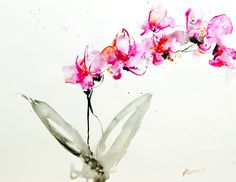 """Saatchi Online Artist: Karin Johannesson; Watercolor, Painting """"Orchids 2"""""""