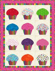 """A very cute Cup Cake quilt for a dolls bed. Measures 18"""" x 23"""". A free pattern with templates."""