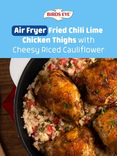 Meet your new favorite air fryer recipe! Tap this pin for these flavor-packed Air Fryer Fried Chili Lime Chicken Thighs with Cheesy Riced Cauliflower! Meat Recipes, Crockpot Recipes, Chicken Recipes, Online Recipes, Cooking Recipes, Healthy Recipes, Recipies, Cheesy Cauliflower, Riced Cauliflower