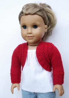 The Qute Charlotte Bolero 18 inch Doll clothes pattern. Knit a long sleeved bolero with a delicate eyelet rib mock cable pattern worked over the back, fronts, and sleeve cuffs. Ag Doll Clothes, Doll Clothes Patterns, Doll Patterns, Clothing Patterns, Knitting Patterns, Sewing Patterns, Crochet Patterns, American Girl, Knitted Dolls