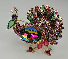 Juliana D&E  Watermelon Peacock Bird Rhinestone Brooch ~ Pin Vintage in Jewelry & Watches, Vintage & Antique Jewelry, Costume, Designer, Signed, Pins, Brooches | eBay
