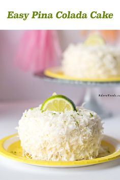 Moist coconut sponge, lime curd and pineapple buttercream and shredded coconut flakes. Moist coconut sponge, lime curd and pineapple buttercream and shredded coconut flakes. Pina Colada Cake Recipe From Scratch, Cake Recipes From Scratch, Mini Cakes, Cupcake Cakes, Cupcakes, Bundt Cakes, Layer Cakes, Cake Cookies, Mini Desserts
