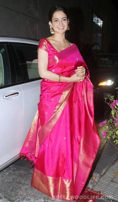 Kangana Ranaut at Dr. Agarwal's daughter's marriage, Bright Silk Saree in Pink, Indian Festive Saree via Indian Attire, Indian Wear, Indian Outfits, Saris, Indian Sarees, Silk Sarees, Indian Look, Elegant Saree, Traditional Looks