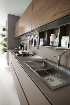 Best Contemporary Kitchen Design Ideas - Page 9 of 58 Modern Kitchen Interiors, Luxury Kitchen Design, Kitchen Room Design, Modern Kitchen Cabinets, Contemporary Kitchen Design, Kitchen Cabinet Design, Home Decor Kitchen, Interior Design Kitchen, Home Kitchens