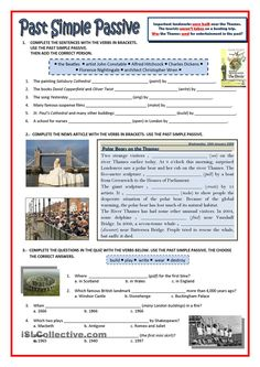 Practice on Passive and London landmarks. Grammar: Passive voice or active voice; English Grammar Test, English Worksheets For Kids, English Activities, English Phrases, English Lessons, Kids Worksheets, Grammar Activities, English Class, English Language