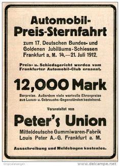 Original-Werbung/ Anzeige 1912 - AUTOMOBIL PREIS - STERNFAHRT PETER´S UNION…