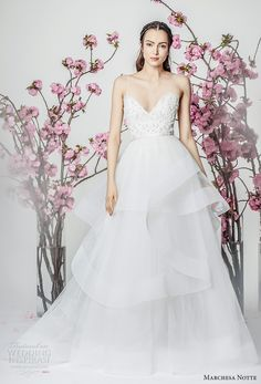 marchesa notte spring 2018 bridal sleeveless spaghetti strap sweetheart neckline heavily embellished bodice layered skirt a  line wedding dresschapel train (13) mv -- Marchesa Notte Spring 2018 Wedding Dresses