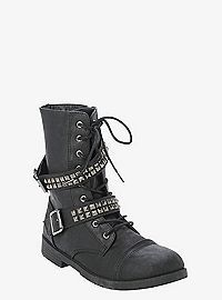 TORRID.COM - Studded & Strapped Combat Boots (Wide Width)