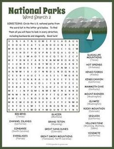 National Parks Word Search Puzzles