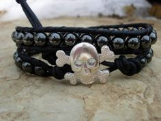 Bohemian Leather Wrap Bracelet Hematite with skull and crossbones button Double Wrap Bead Wrap