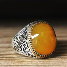 925 K Sterling Silver Man Ring Yellow Amber 11,75 US Size $36.80