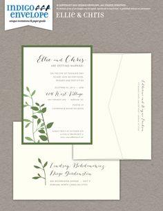 A fun, botanical rehearsal dinner invitation for a more formal wedding. #botanicalwedding #indigoenvelope