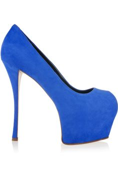 Cobalt blue suede pumps w/ a dramatic platform to balance the steep stiletto, I'd live in these. #practical  Giuseppe Zanotti