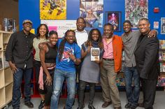 """THANK YOU to everyone who came out for the launch of the """"Encyclopedia of Black Comics""""! In this pic (l to r): Eric Battle Nicole Sherin Ariell Johnson Jason Richardson James Paterson Sheena Howard Alex Simmons Steven Harris and Walter Greason. What a bunch of legends! Thank you to @amalgamphilly for hosting this memorable evening.  Link to the rest of the album in profile"""
