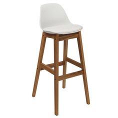 Design barstoel met onderstel in geolied eikenhout. Depot Design, uw specialist in mid-century design.