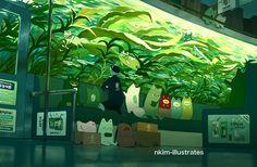 n*kim — Matcha Fox - Aquarium Fantasy Kunst, Fantasy Art, Pretty Art, Cute Art, Anime Kunst, Anime Art, Aquarium Drawing, Fox Art, Anime Scenery