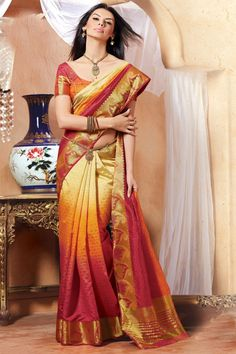 Off White Red and Orange Color Silk Fabric Saree for Woman #saree, #traditionalsaree more: http://www.pavitraa.in/catalogs/indian-traditional-silk-sarees-online-shopping/?utm_source=rn&utm_medium=pinterestpost&utm_campaign=1jul