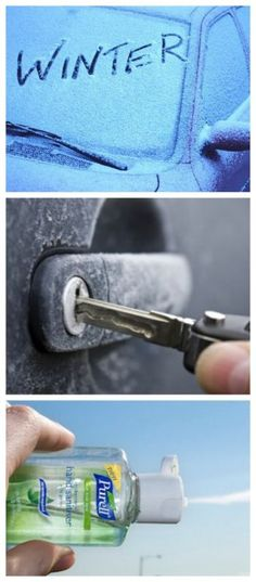 Hand sanitizer is your weapon against a icy door. Check out these cool travel hacks... #spon #tips #lifehacks