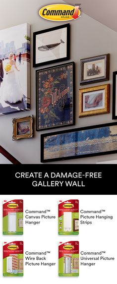 Use Command™ Picture Hanging Products to create a stair gallery wall. Display personal photos and artwork without tools.