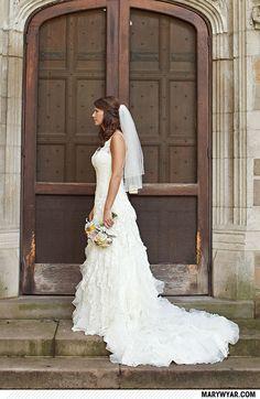 elyse + bill http://marywyar.com  ann arbor wedding  bright blue & yellow  kraft paper details