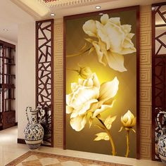 beibehang wall paper flash silver cloth Entrance hallway wall painting backdrop Continental Golden Rose large mural wallpaper #Affiliate