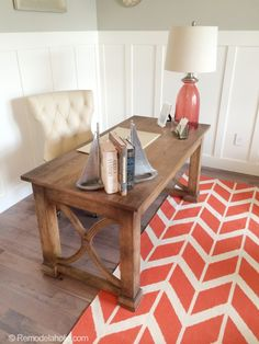 Office: wall trim and coral/driftwood colors