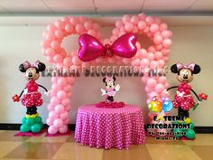 baloon party background ideas | Minnie Mouse Cake table decoration with Minnie Ears Pink balloon arch ...