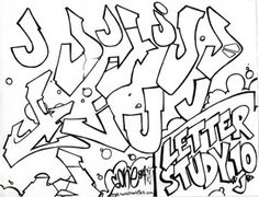 The letter J in graffiti style