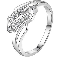 * Penny Deals * - BOHG Jewelry Womens Sterling Silver Plated Cubic Zirconia Eternity Cute 2 Branch Leaf Statement Ring Size 8 925 * Check this awesome product by going to the link at the image.