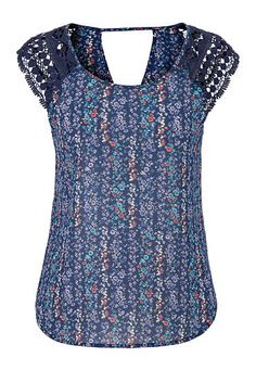 floral chiffon top with crochet shoulders (original price, $29) available at #Maurices