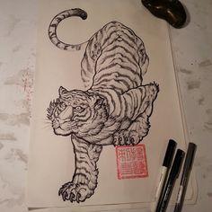 whitetiger#orientaltattoodesign#白虎#四大神兽#design#by#yanglee Tiger Tattoo Design, Tattoo Designs, Tattoo Toronto, Some Body, Sketchbooks, Tattos, Tigers, Colored Pencils, Body Art