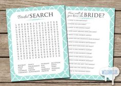 Printable Bridal Shower Party Games PACK 2, Word find search, know the bride quiz, Turquoise and Gray, tiffany blue; INSTANT DOWNLOAD on Etsy, $6.00
