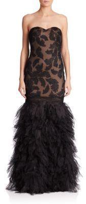 Tadashi Shoji Strapless Drop-Waist Feather #Gown by #TadashiShoji.   <>    @kimludcom