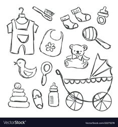 Baby shower items doodles vector image on VectorStock Disney Princess Coloring Pages, Disney Princess Colors, Baby Shower Items, Baby Items, Embroidery Patterns Free, Hand Embroidery, Baby Shower Scrapbook, Doodle Baby, Bottle Drawing