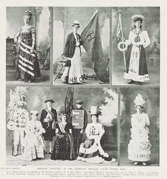 STRIKING COSTUMES AT THE HAMILTON BOWLING CLUB'S POSTER BALL, 14 September 1907 Club Poster, Bowling, Hamilton, New Zealand, Balls, September, Costumes, Photography, Painting