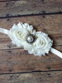 Shabby Chic Bow-Shabby Chic Headband-Ivory Shabby Headband-Pearl Embellished Headband-Newborn Bow-Little Girl Bow-Baby Girl Bow