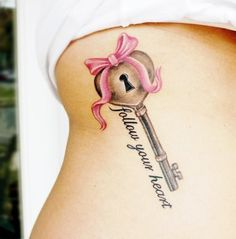 key with lock and love heart and pink bow tattoo with inscription - Heart tattoos
