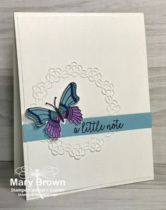 by stampercamper - Cards and Paper Crafts at Splitcoaststampers Butterfly Artwork, Butterfly Cards, Flower Cards, Embossed Cards, Beautiful Handmade Cards, Homemade Cards, Stampin Up Cards, Making Ideas, I Card