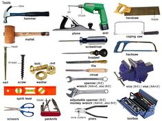 Tools and Equipment Vocabulary: Items Illustrated - ESLBuzz Learning English Junior High English, English Fun, English Tips, English Study, English Class, English Words, English Lessons, Teaching English, Learn English